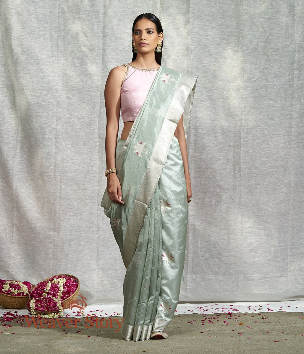 Handwoven Powder Blue Silk Chanderi Saree with Birds