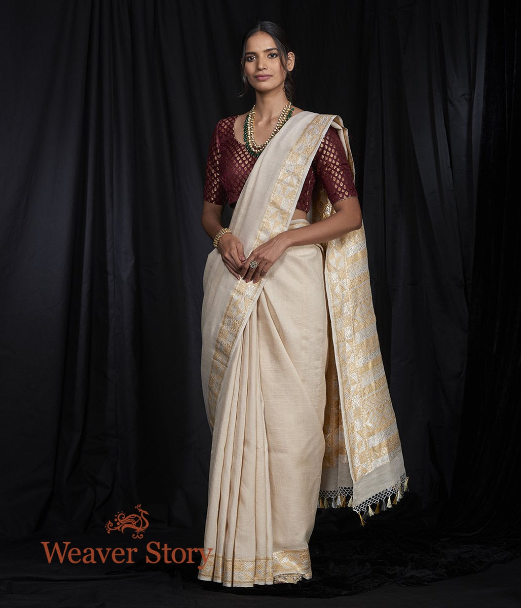 Handwoven Plain Tusser Saree with Kadhwa Sona Rupa Border