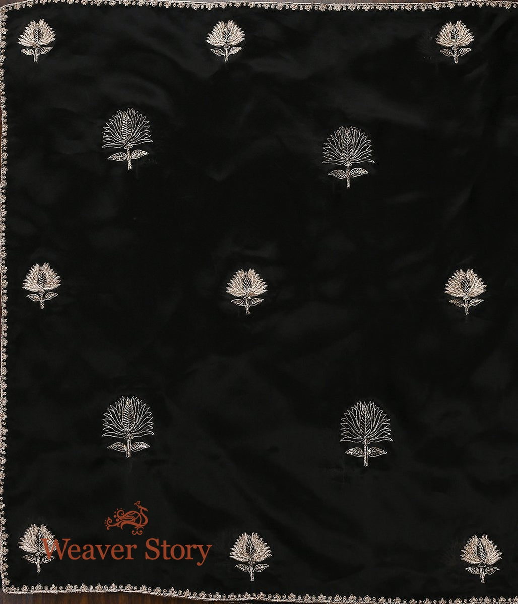 Black Zardozi Organza Dupatta with Lotus Flower Motifs