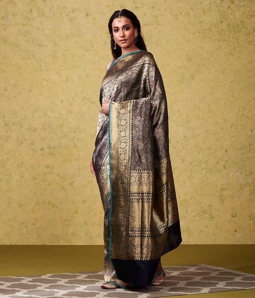 Handwoven Blue Floral Kimkhab with Meenakari