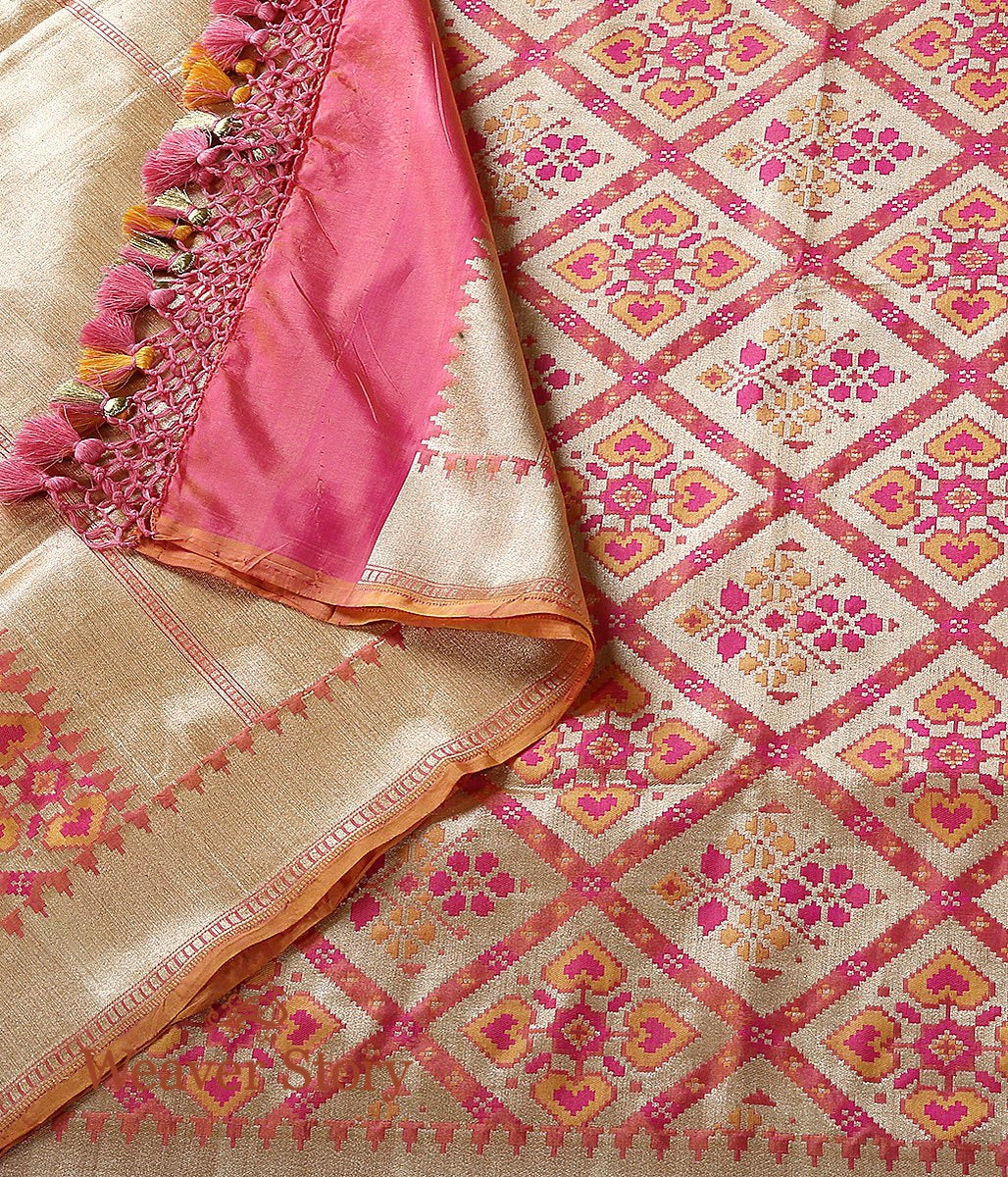 Handwoven Peach Pink Banarasi Patola Dupatta with Zari Base