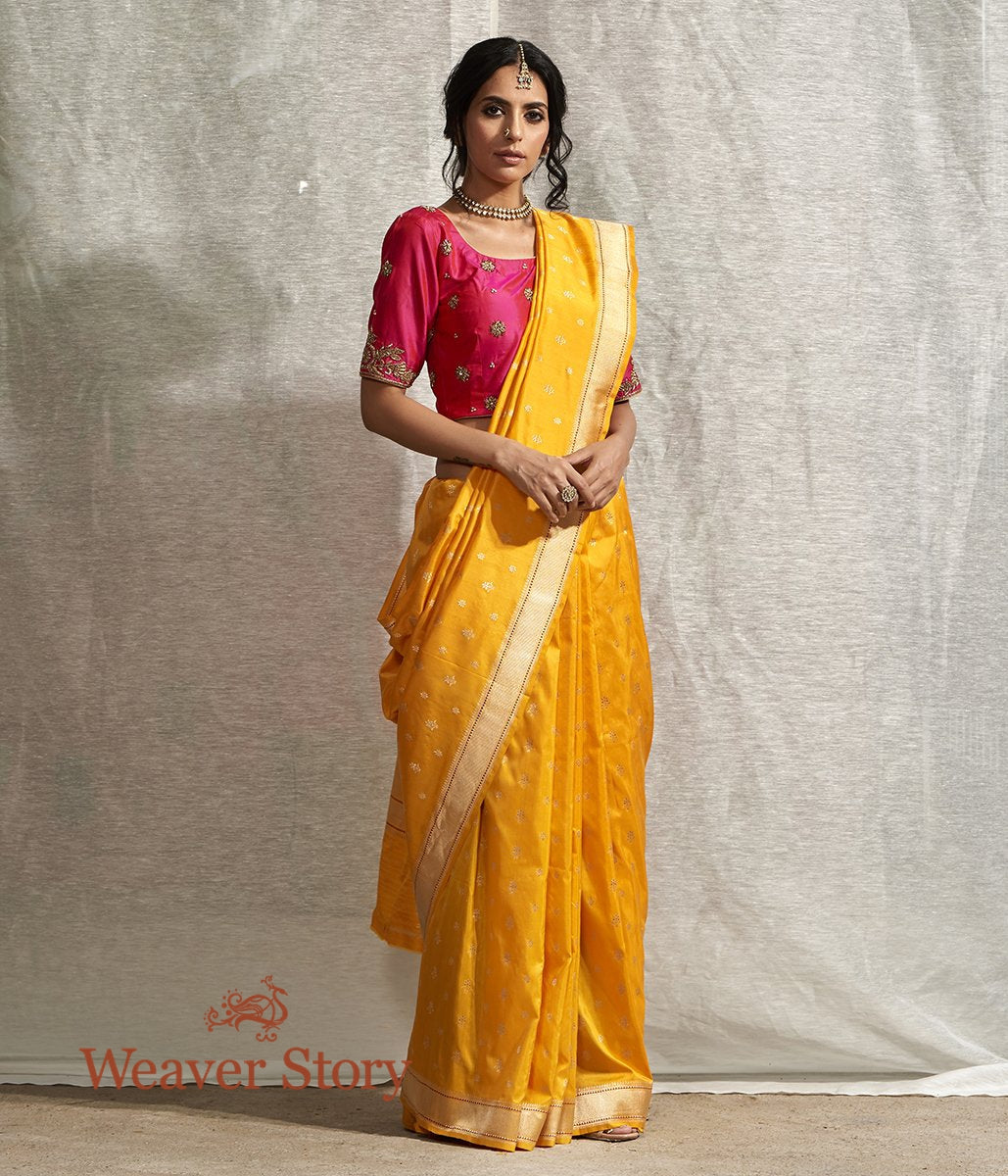 Handwoven Yellow Ektara Saree with Konia