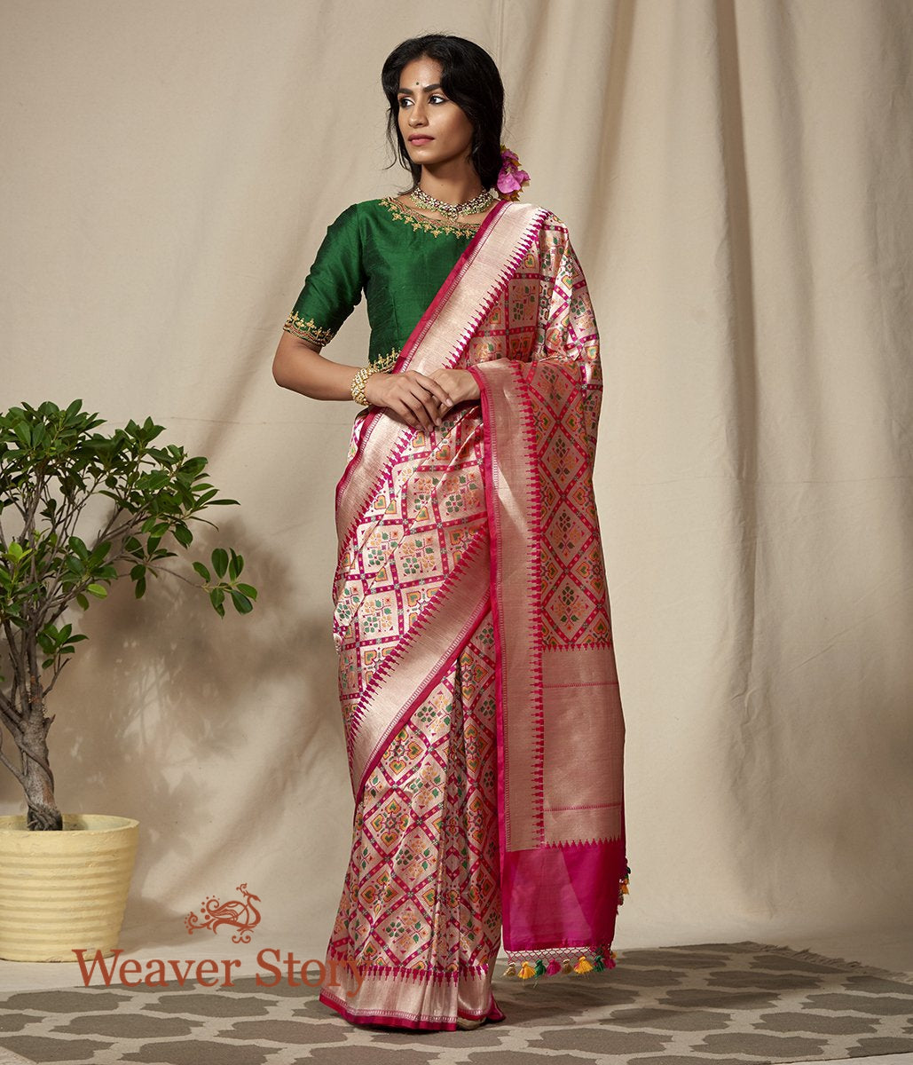 Handwoven Pink Banarasi Patola Saree with Zari Base