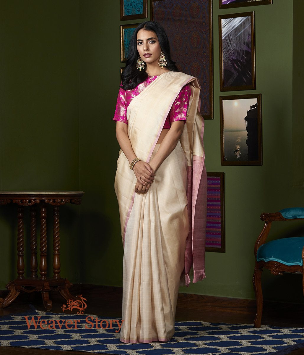 Handwoven Beige Kanjivaram Silk Saree with Small Pink Border