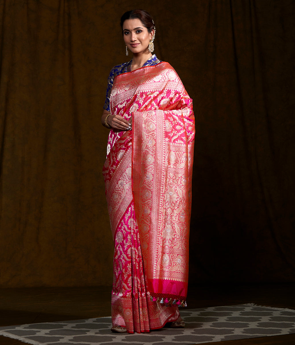 Handwoven Hot Pink Kadhwa Jangla Saree with tested zari