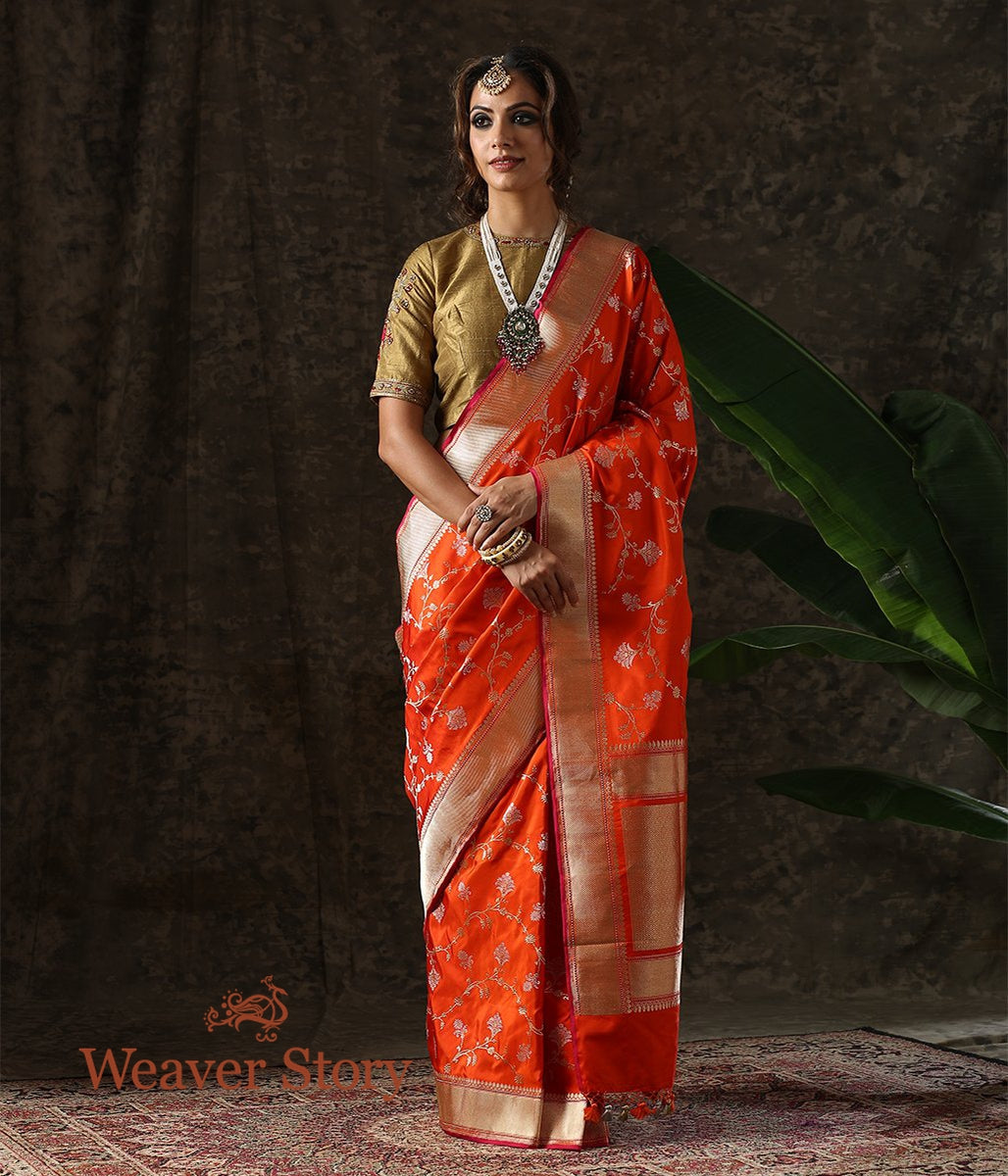 Handwoven Orange Kadhwa Jangla Saree with Sona Rupa Zari