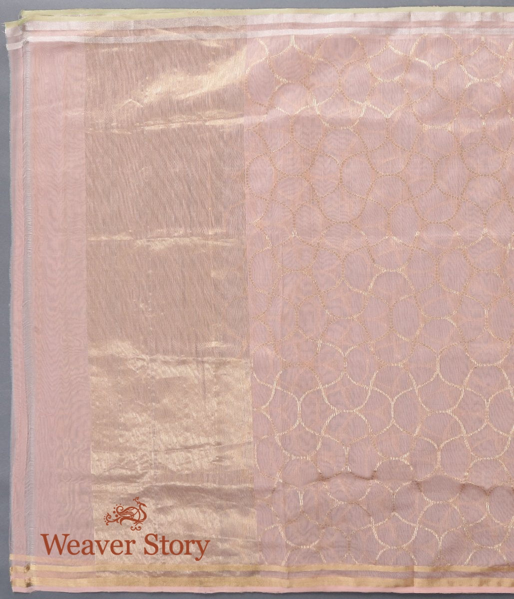 Handwoven Peach Chanderi Cotton Silk Dupatta with Gold Zari Jaal