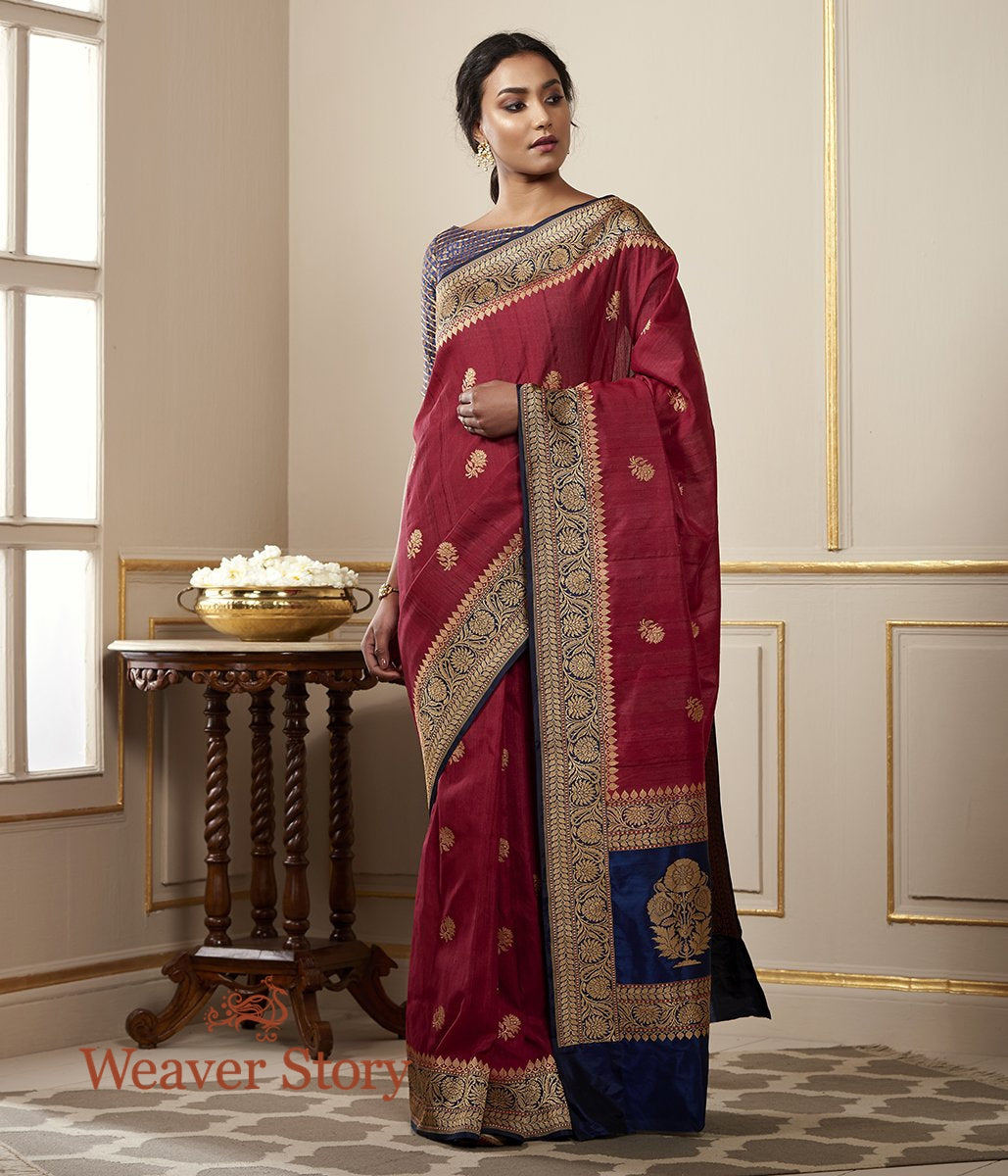 Handwoven Maroon Tusser Saree with Blue Floral Border