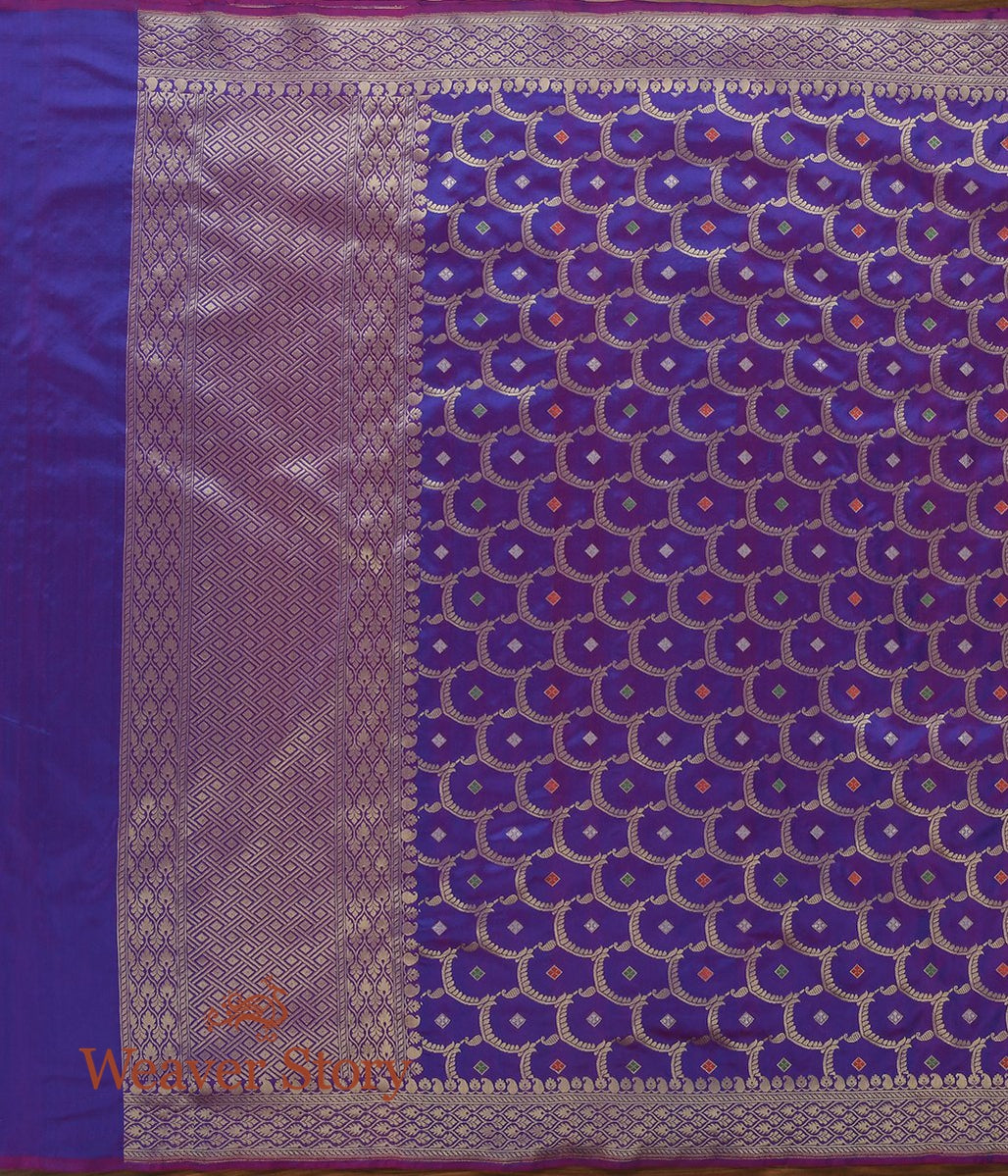Handwoven Purple Cutwork Jangla Dupatta