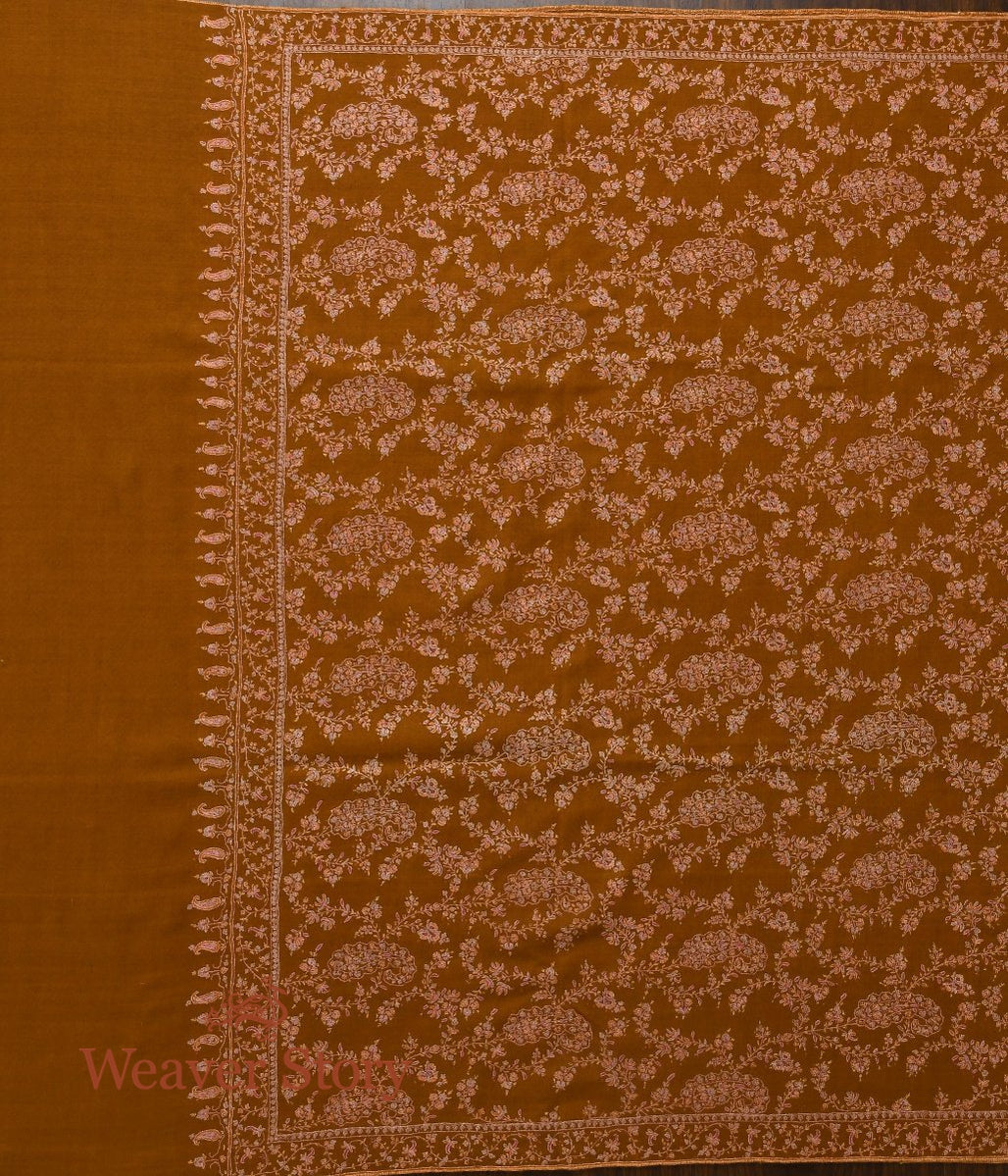 Mustard Pure Pashmina Shawl with All Over Jaal