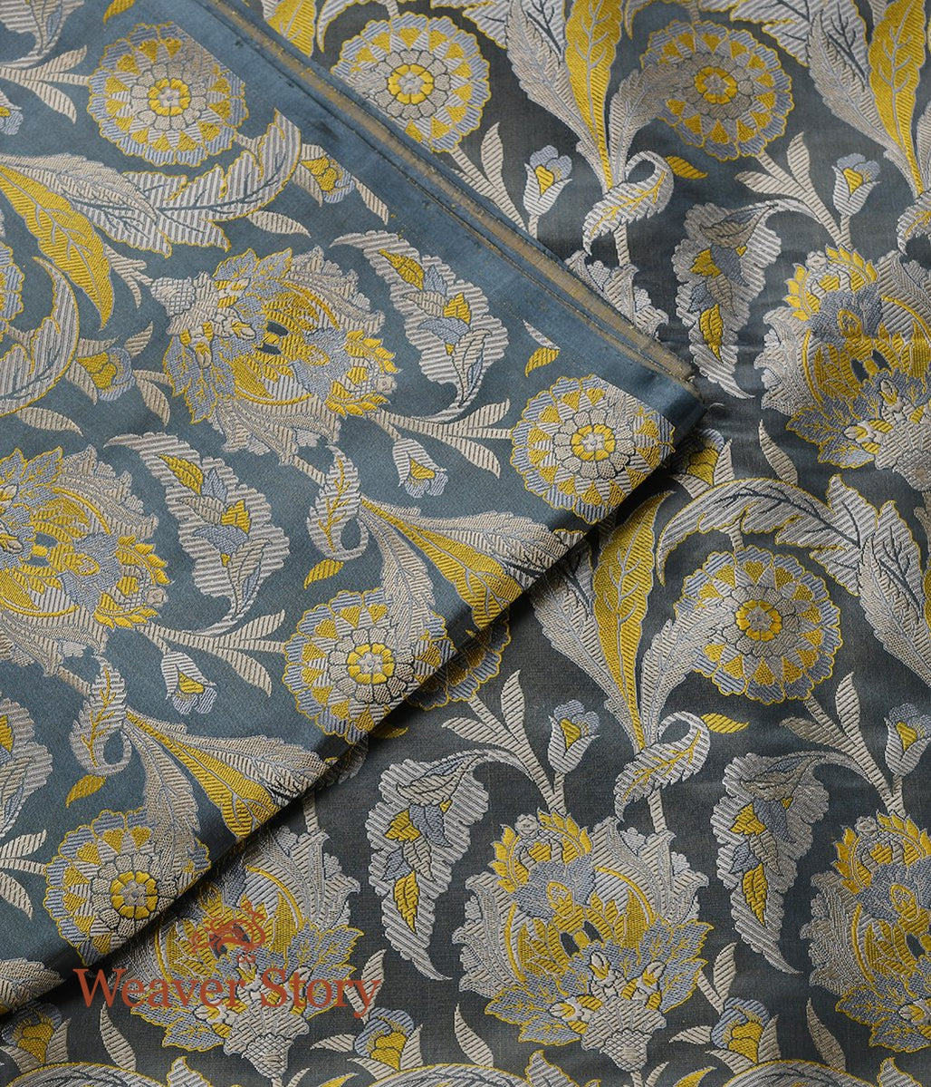 Handwoven Grey Banarasi Kimkhab Fabric with Floral Pattern