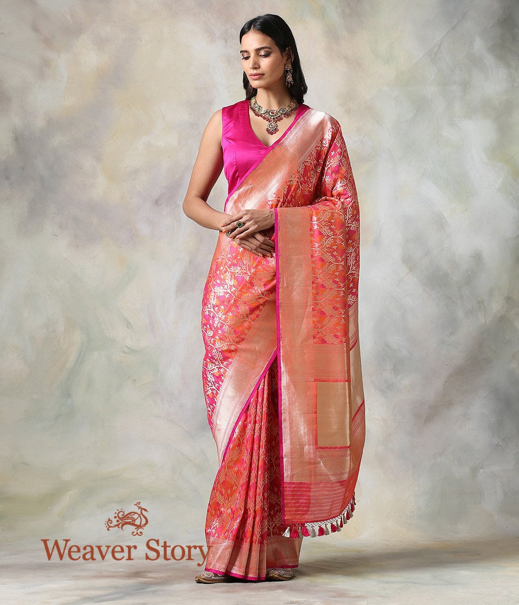 Handwoven Pink Peach Floral Cutwork Jaal Saree with Meenakari