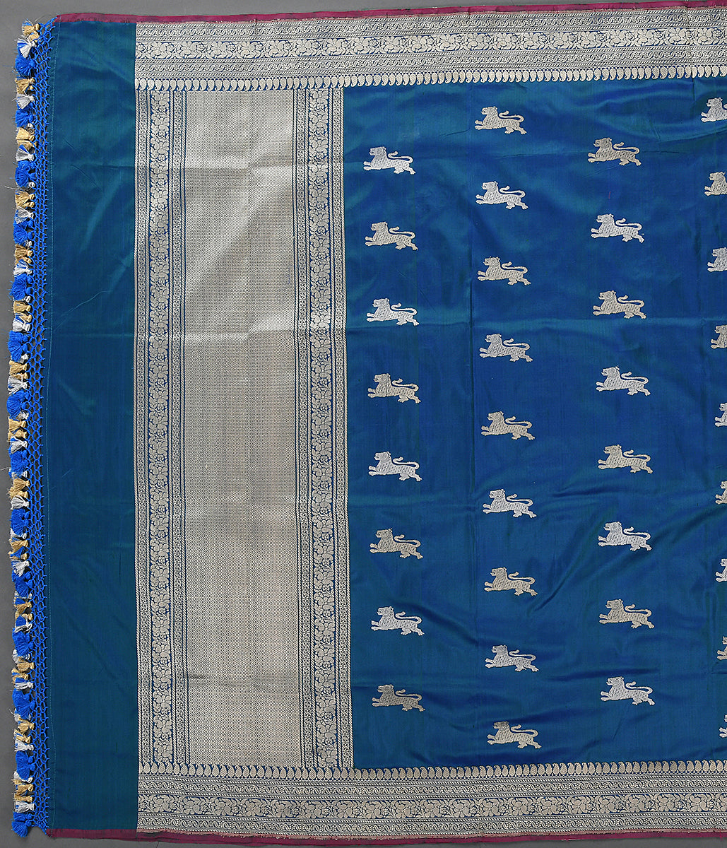 Handwoven Blue Banarasi Dupatta with Lion Motifs
