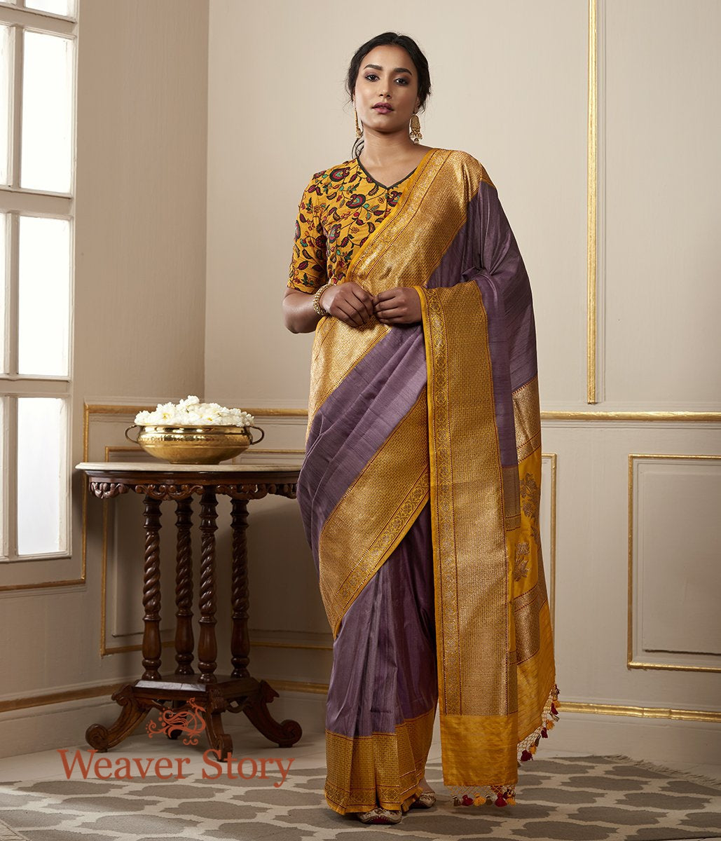 Handwoven Purple Tusser Silk Banarasi with Mustard Border and Pallu