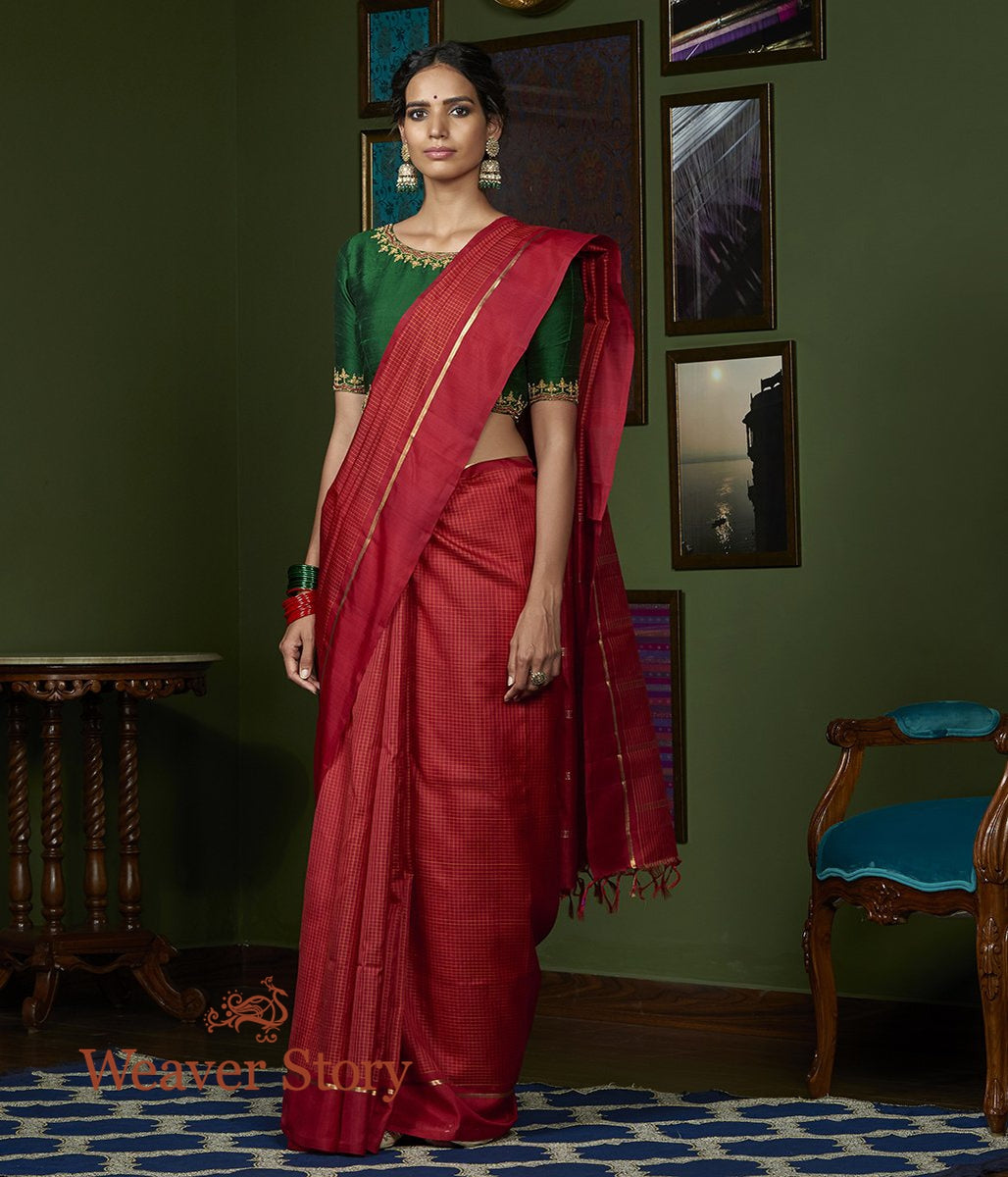 Handwoven Red All Over Checks with Plain Border Kanjivaram Saree