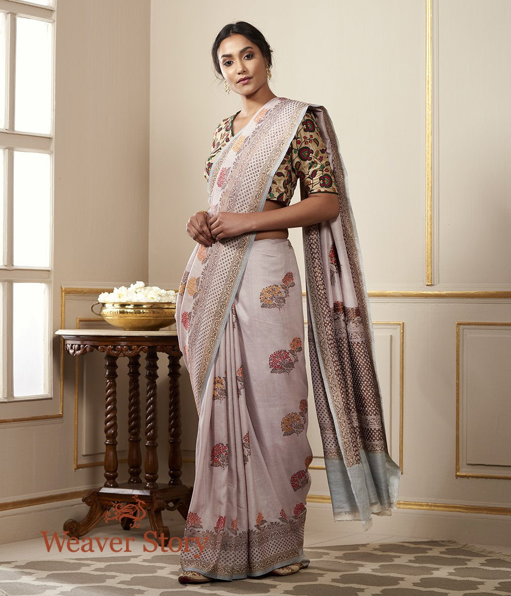 Handwoven Light Mauve Tusser Saree with Meenakari Booti