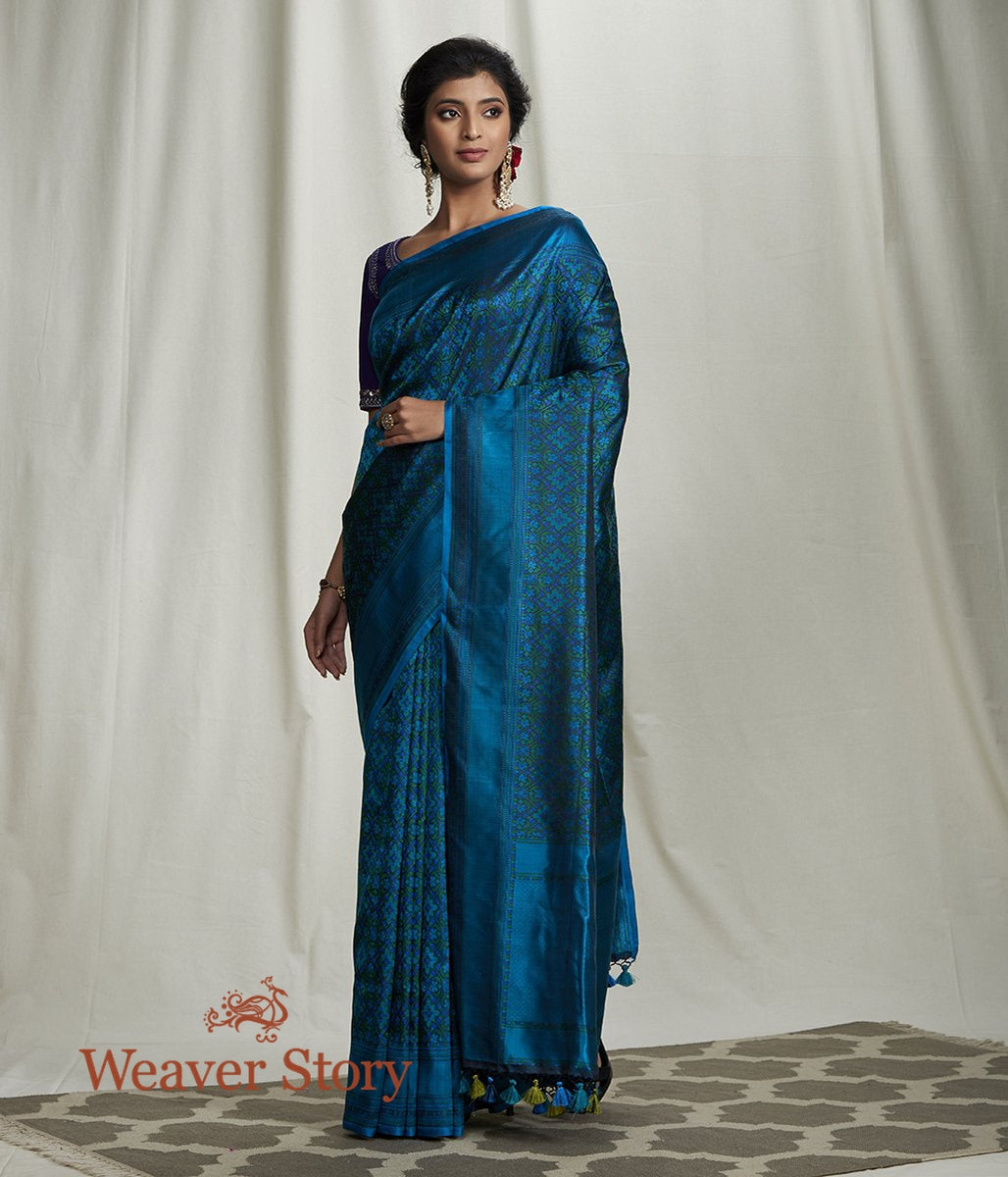 Handwoven Blue Green Reshmi Jamawar Saree