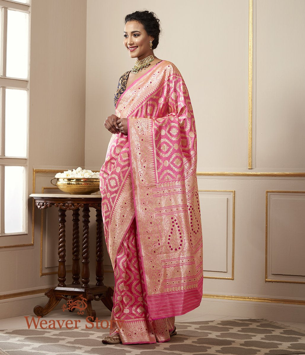 Handwoven Bubblegum Pink Katan Silk Jangla with Meenakari and Floral Border