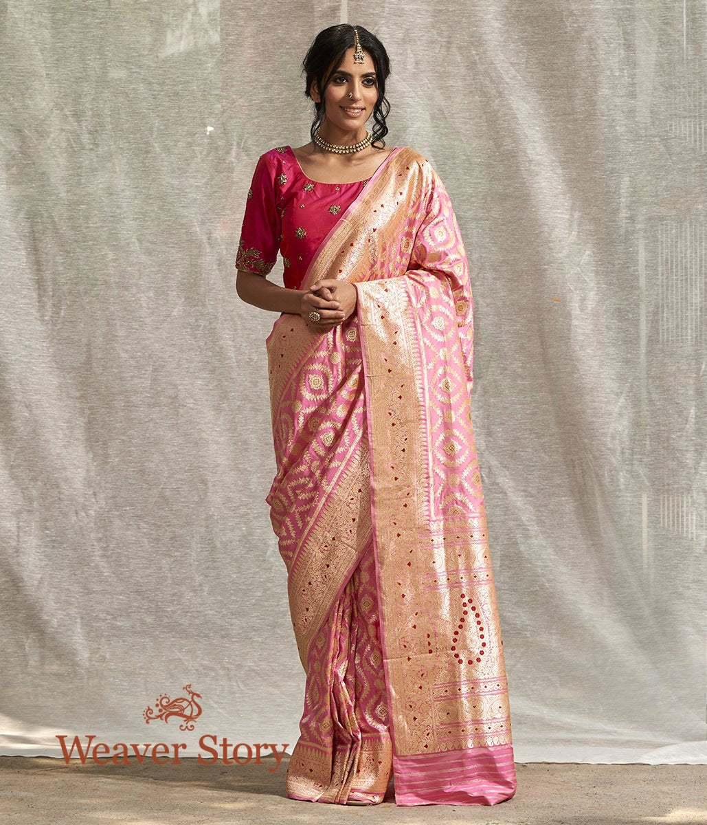 Handwoven Pink Katan Silk Saree with Tested Zari and Meena