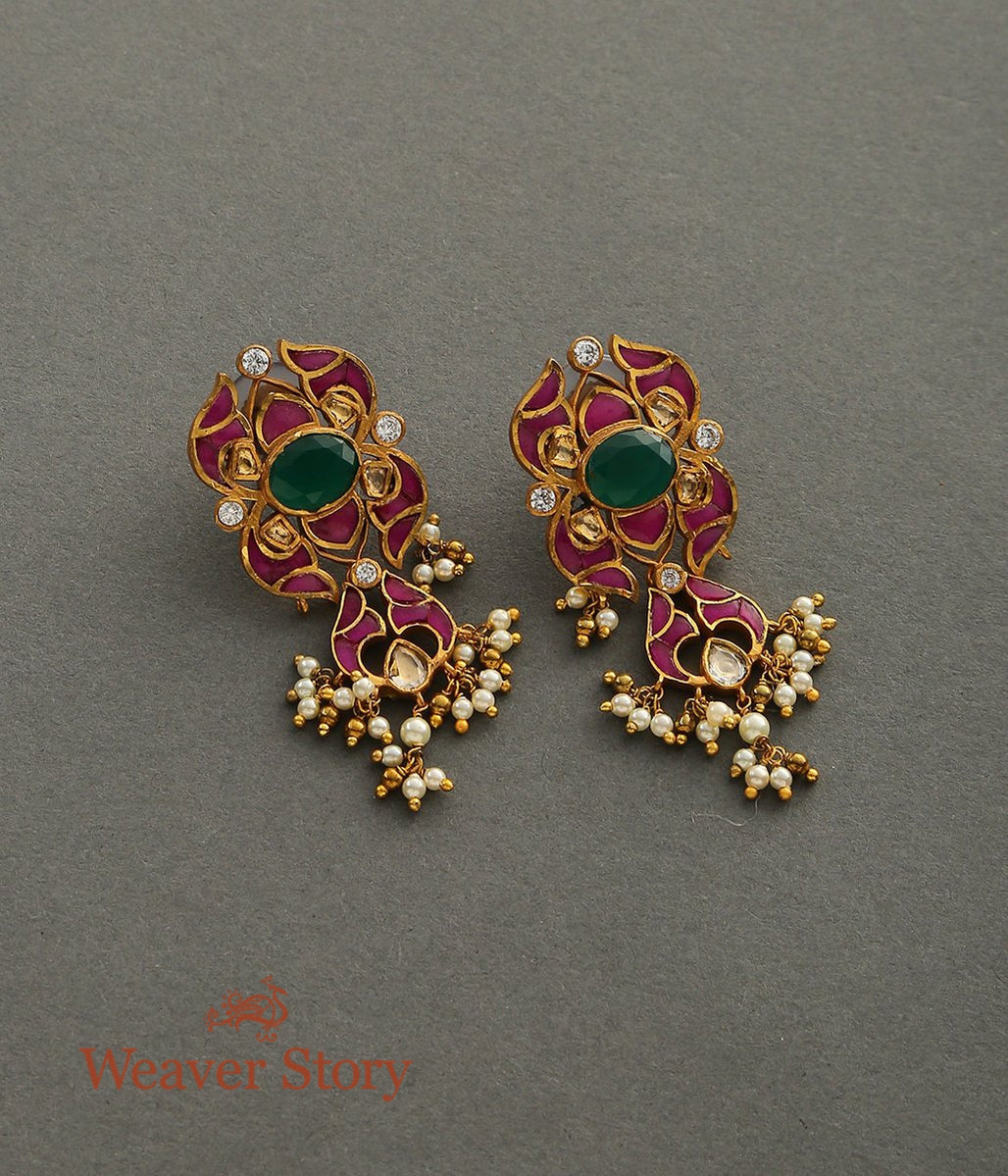 Ruby Inlay Studs with Green Stone