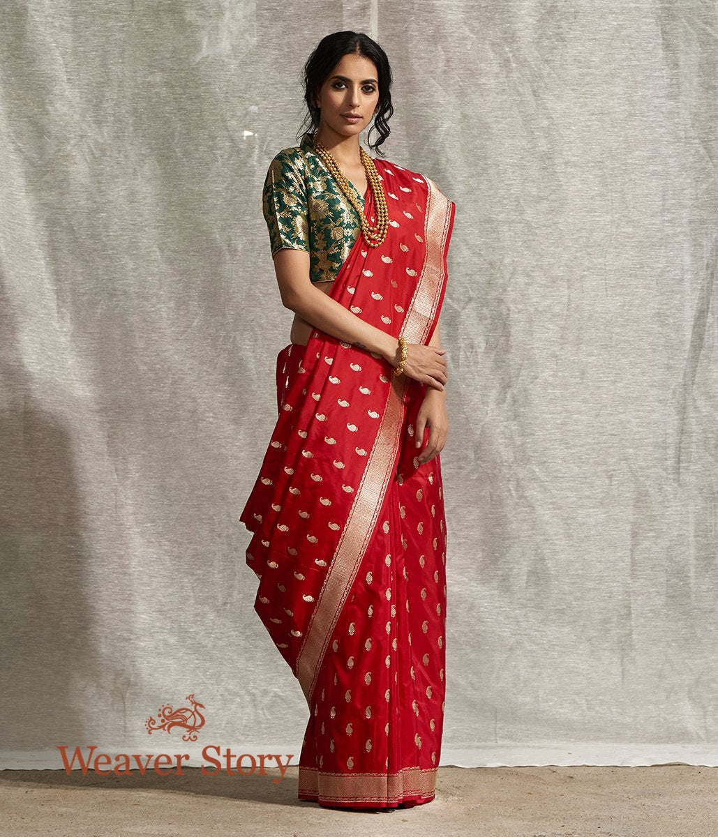 Handwoven Red Paisley Booti Saree with Konia