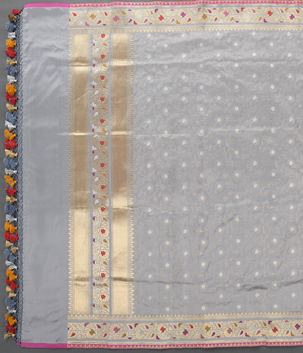 Handwoven Grey Banarasi Dampaj with Meenakari Border