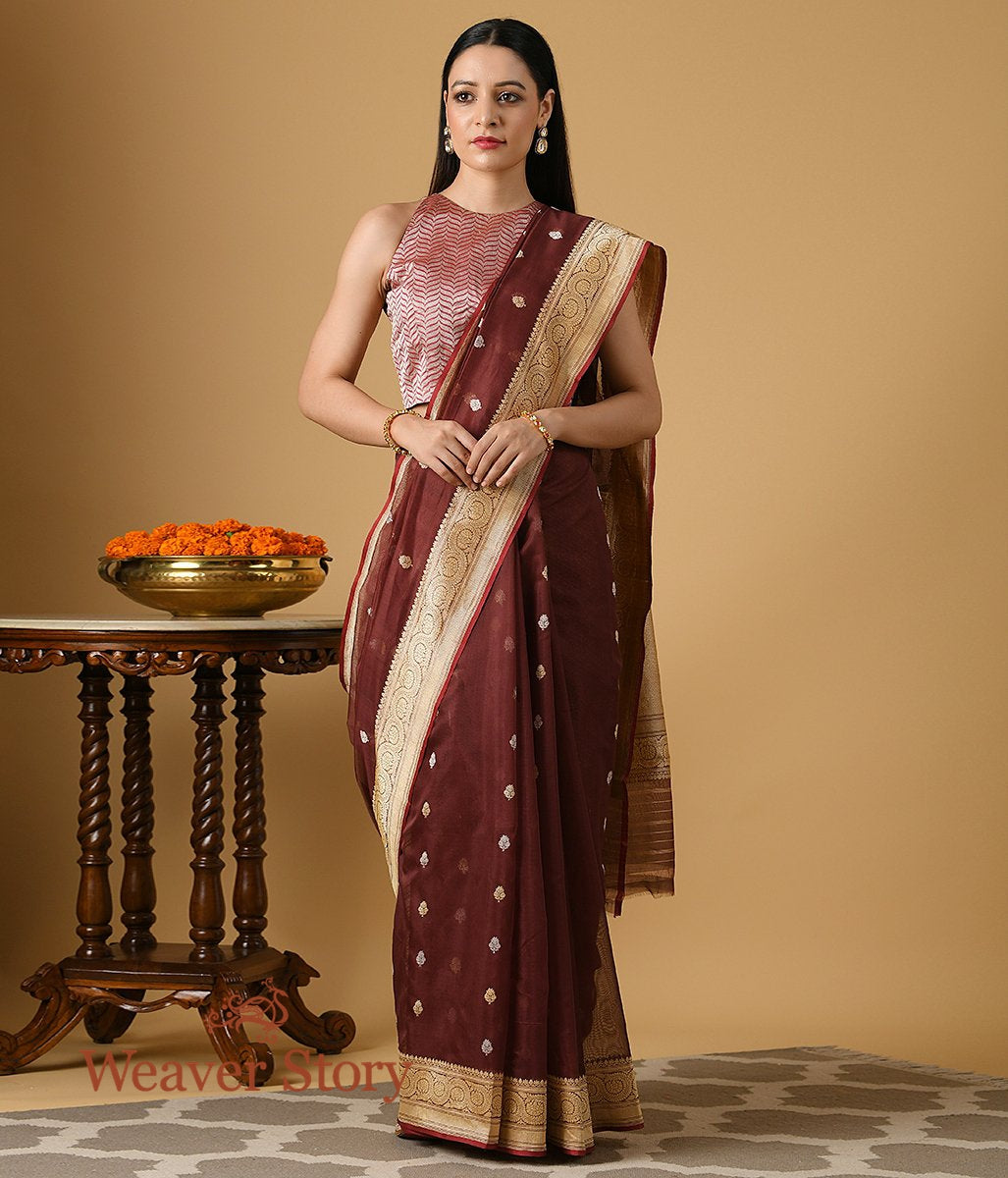 Handwoven Coke Brown Kadhwa Booti Saree in Pure Cotton