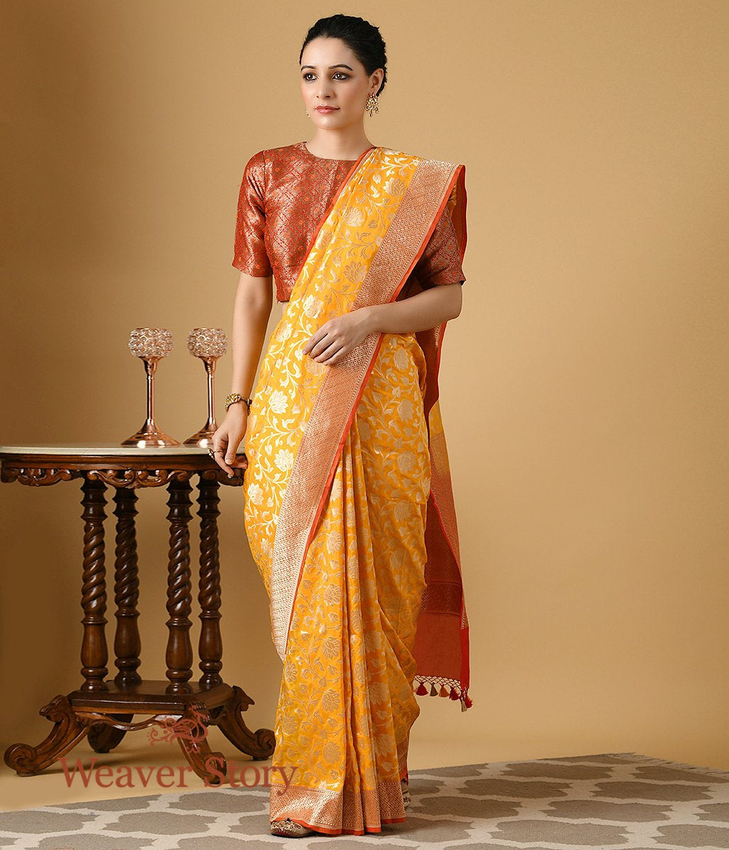Handwoven Yellow and Red Banarasi Silk Saree with Gold Zari Jaal