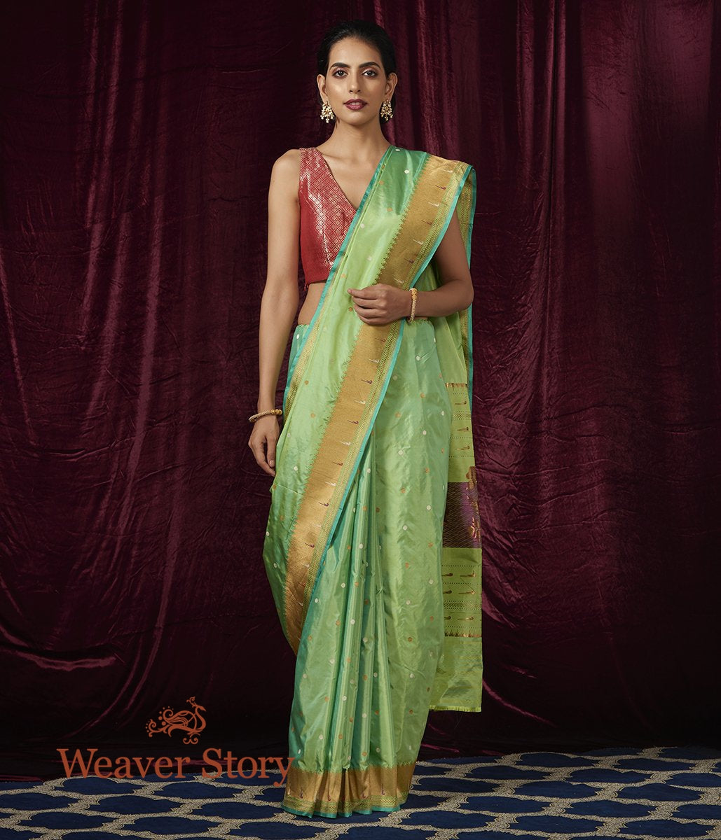 Handwoven Light Green Katan Silk Saree with Paithani Border
