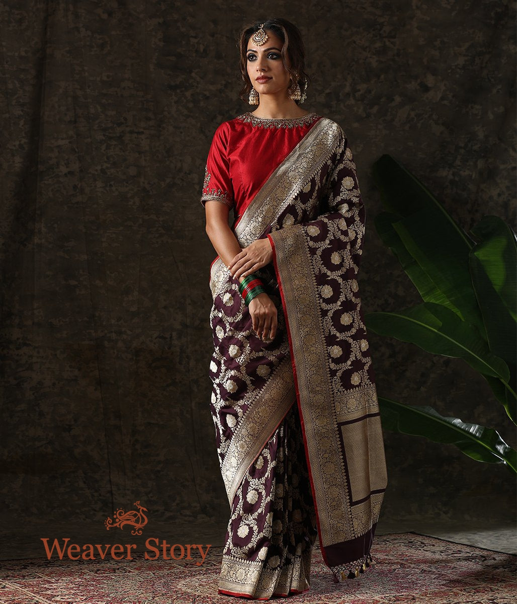 Handwoven Wine Kadhwa Floral Jaal Saree with Red Selvedge