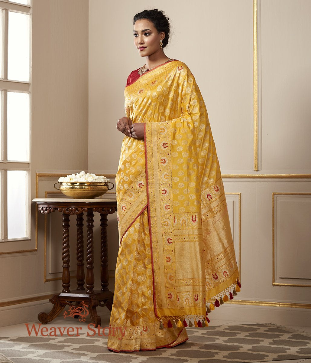 Handwoven Yellow Kadhwa Jangla with Meenakari