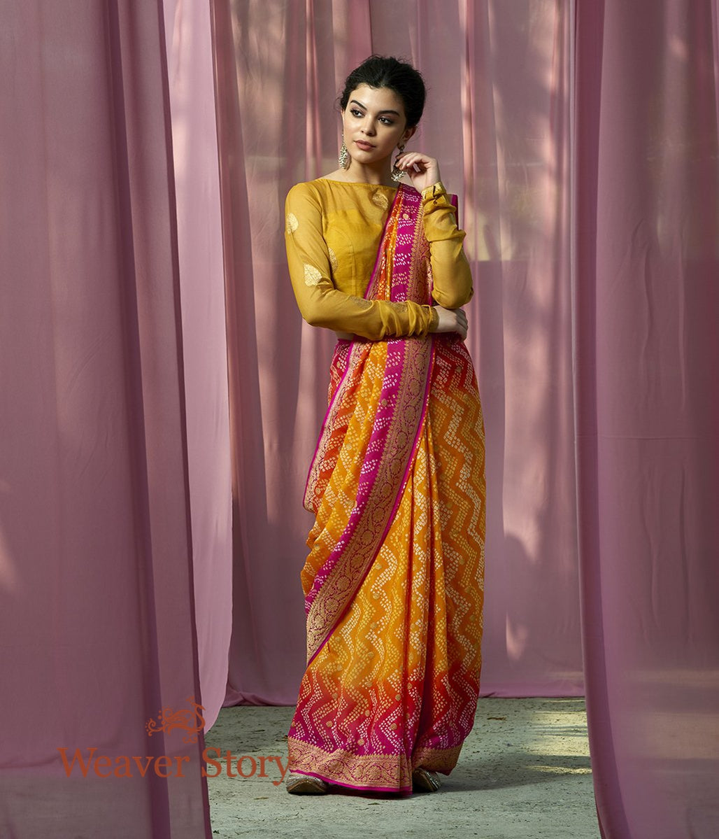 Handwoven Yellow Kadhwa Bandhej Saree with Pink Border