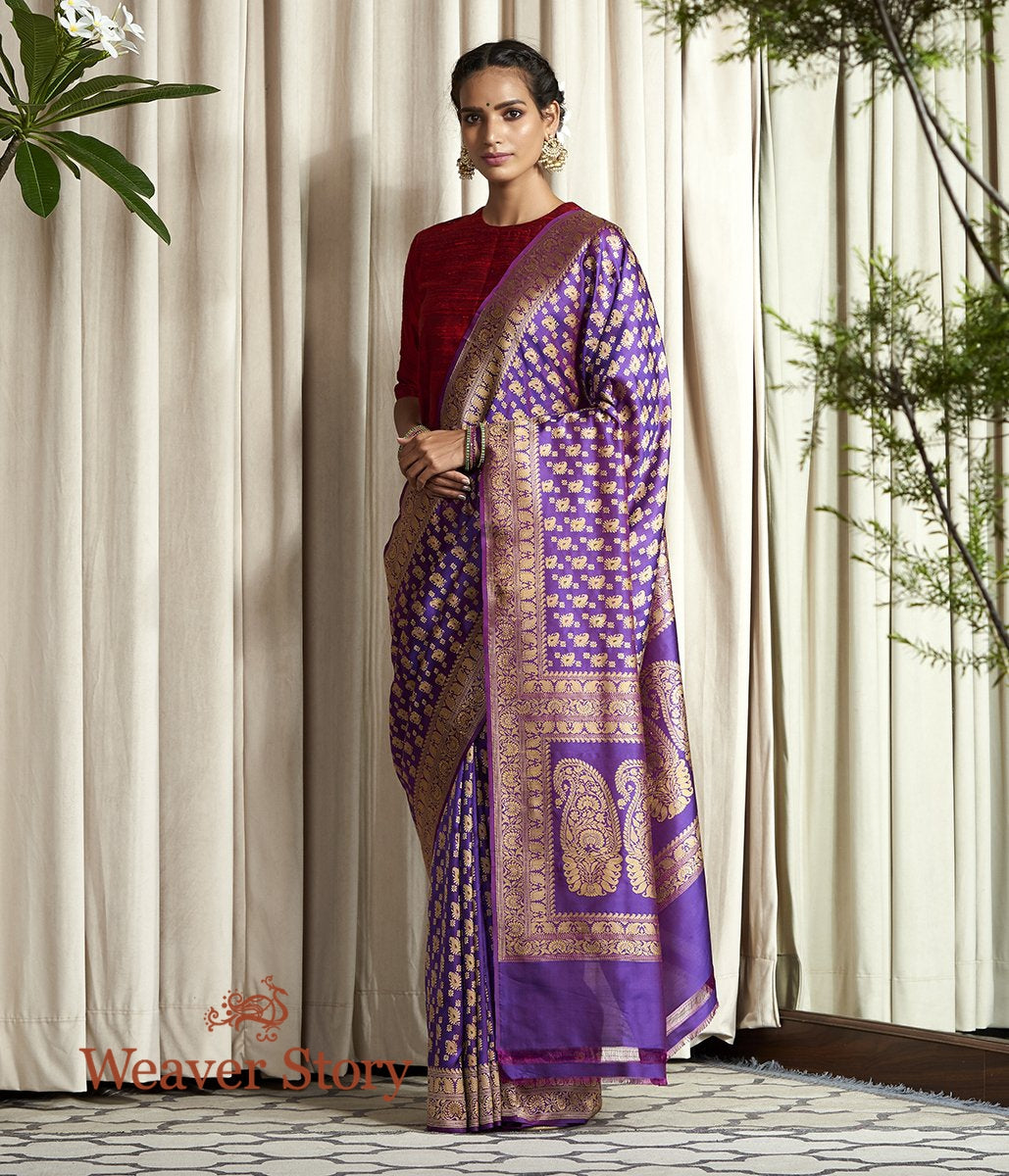 Handwoven Purple Baluchari Kairi Booti Ghani Saree