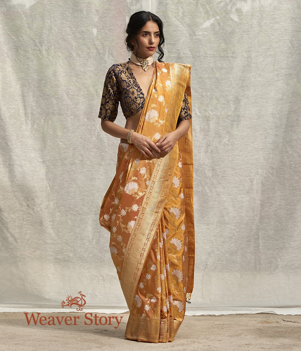 Handwoven Gold Dual Tone Lotus Flower Jangla Saree