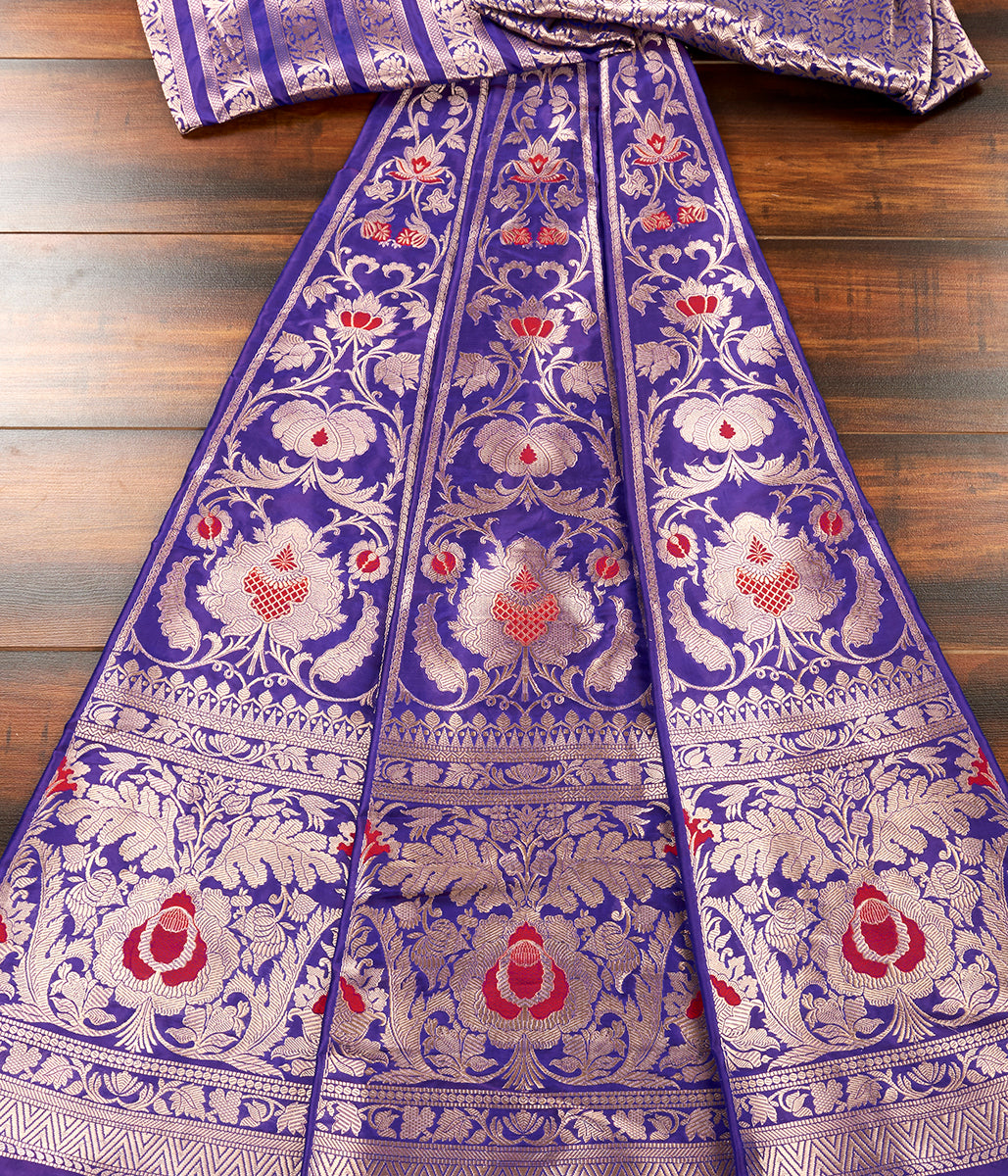 Handwoven Banarasi Silk Lehenga in Purple Color with Red Meenakari