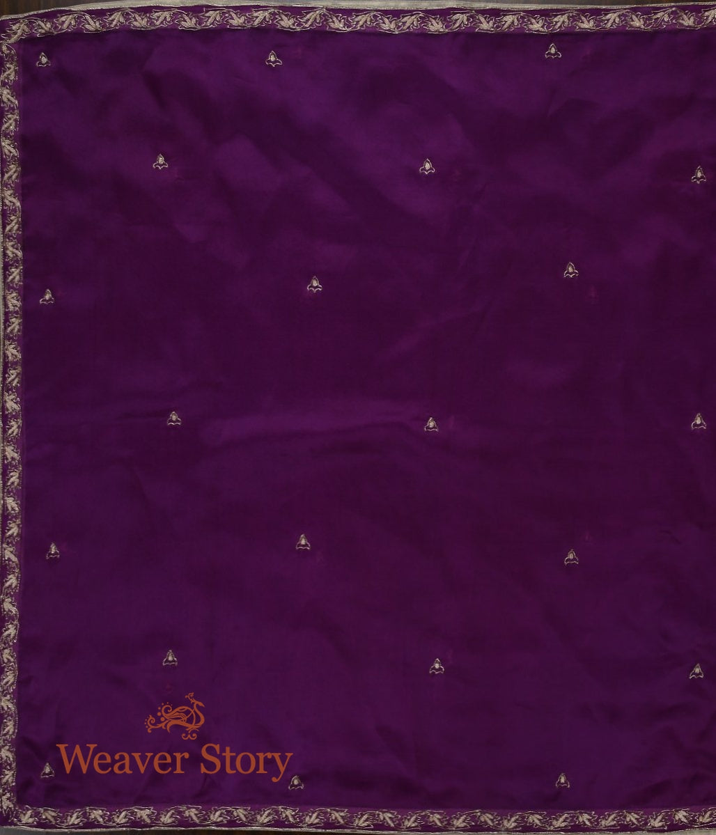 Purple Zardozi Dupatta with Leaf Border