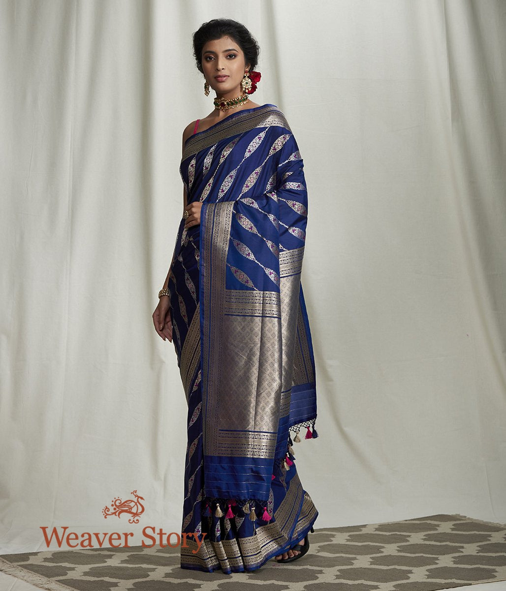 Handwoven Blue Banarasi Saree with Diagonal Meenakari Bel
