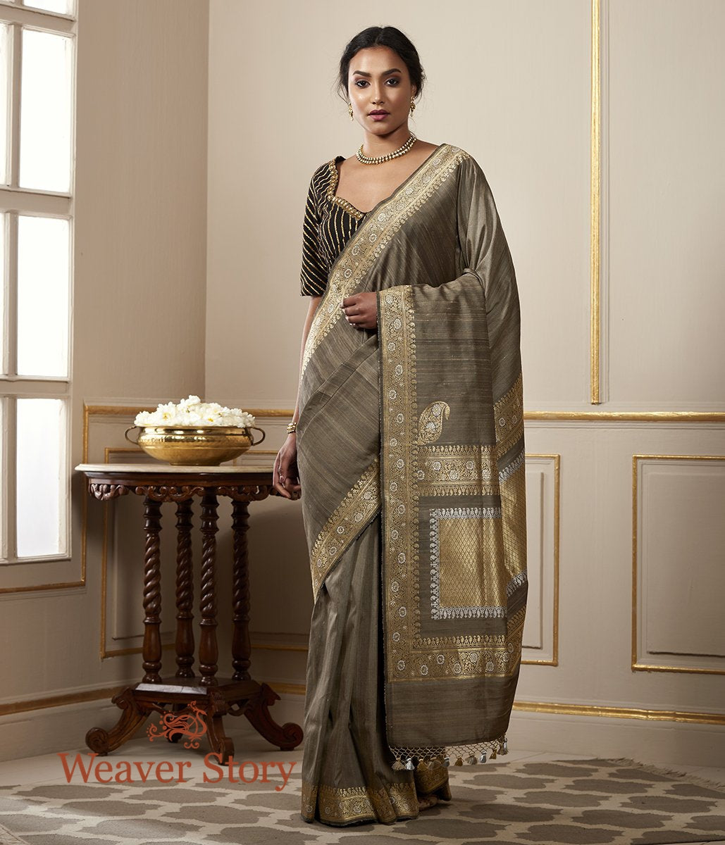 Handwoven Grey Tusser Silk Banarasi Saree with Kadhwa Border