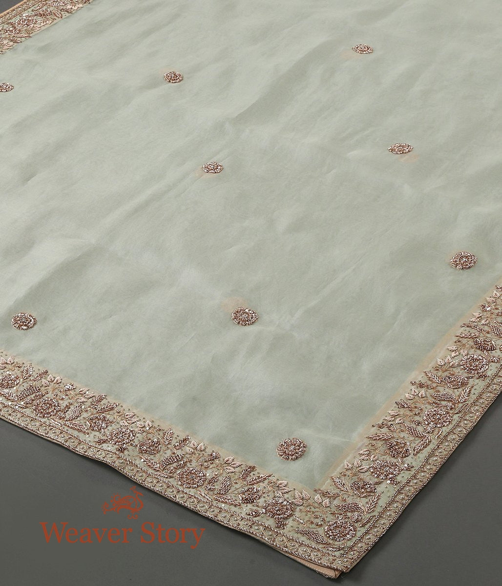 Ice Blue Zardozi Work Organza Dupatta with Floral Border