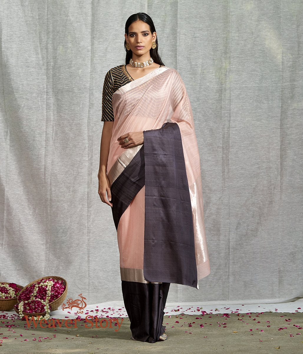 Handwoven Peach Plain Saree with Black Mushroo Border