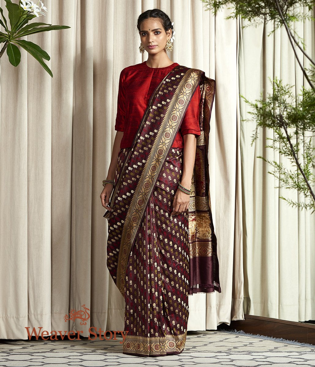 Handwoven Wine Elephant Pallu Baluchari Saree