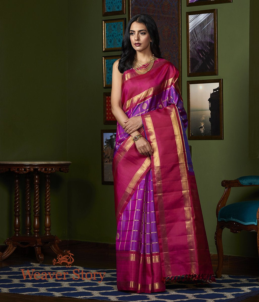 Handwoven Purple Real Zari Kanjivaram Silk Saree with Red Border and Pallu