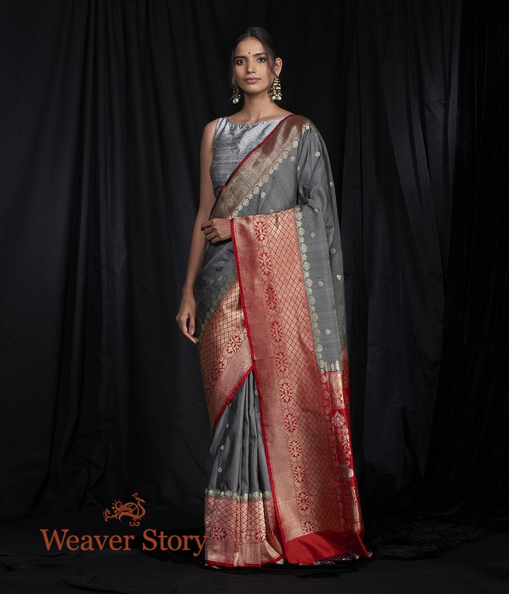 Handwoven Grey Tusser Saree with Red Kadhiyal Border