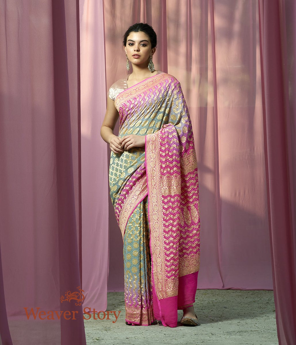 Handwoven Pink and Green Shaded Banarasi Bandhej Saree