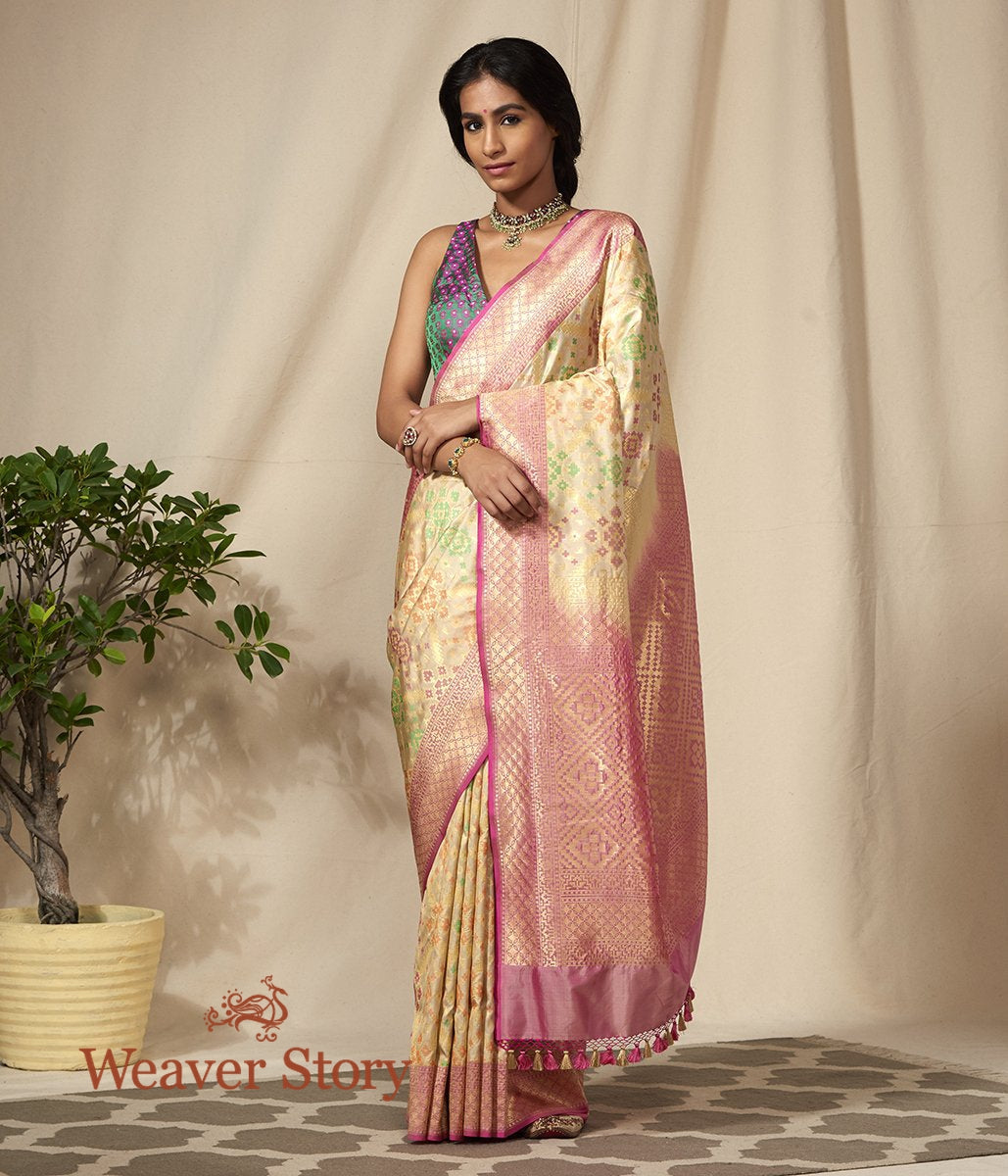 Handwoven Banarasi Patola Saree in Cream and Pink