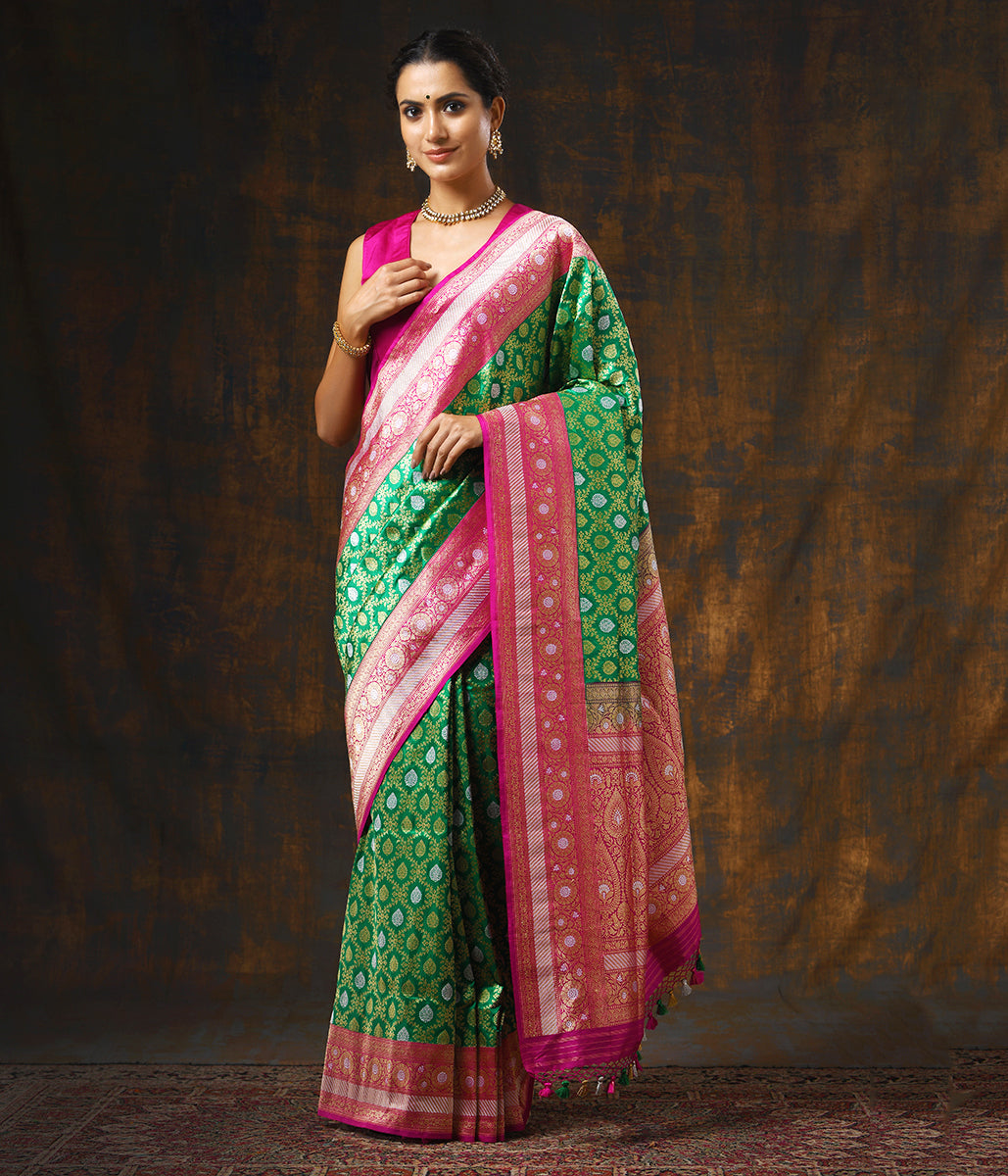 Handwoven Kadhwa Banarasi Jangla in Green with a Contrast Pink Border