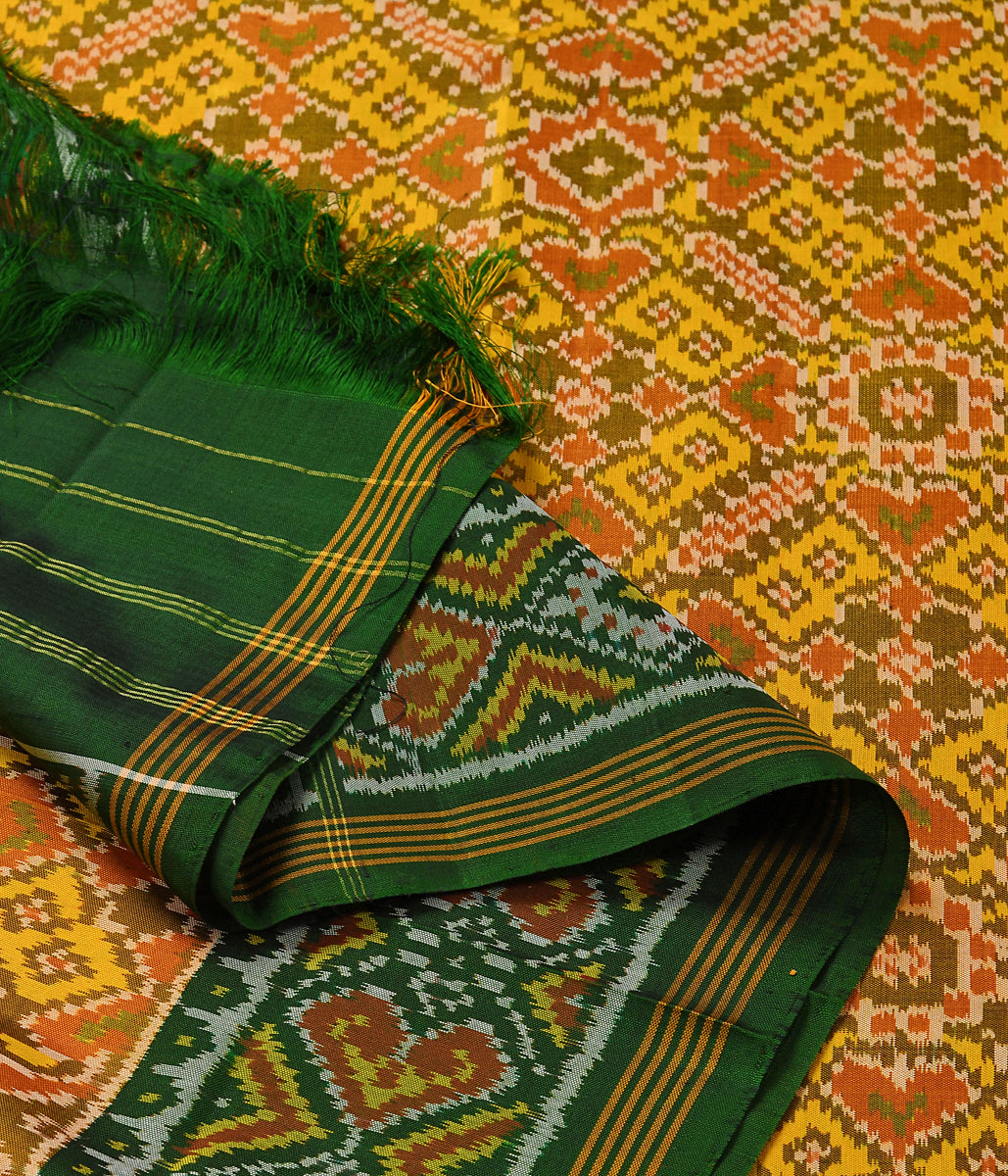 Handwoven Green and Yellow Patola Dupatta