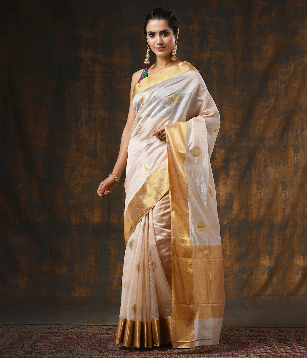 Handwoven Pale Peach Chanderi Silk Saree with Anaar Boota