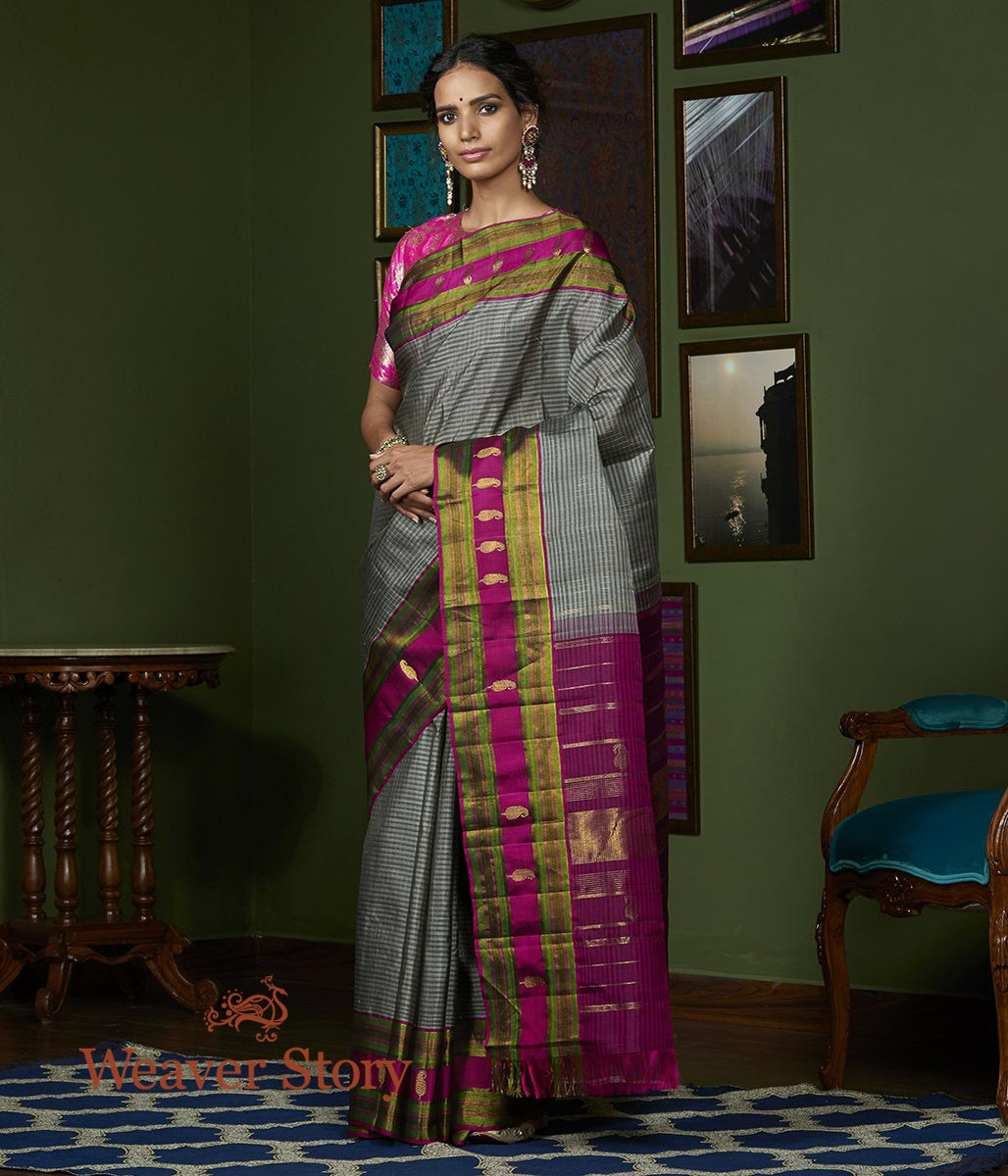 Handwoven Grey Kanjivaram Silk Saree with Zari Checks and Purple Border with Paislesy