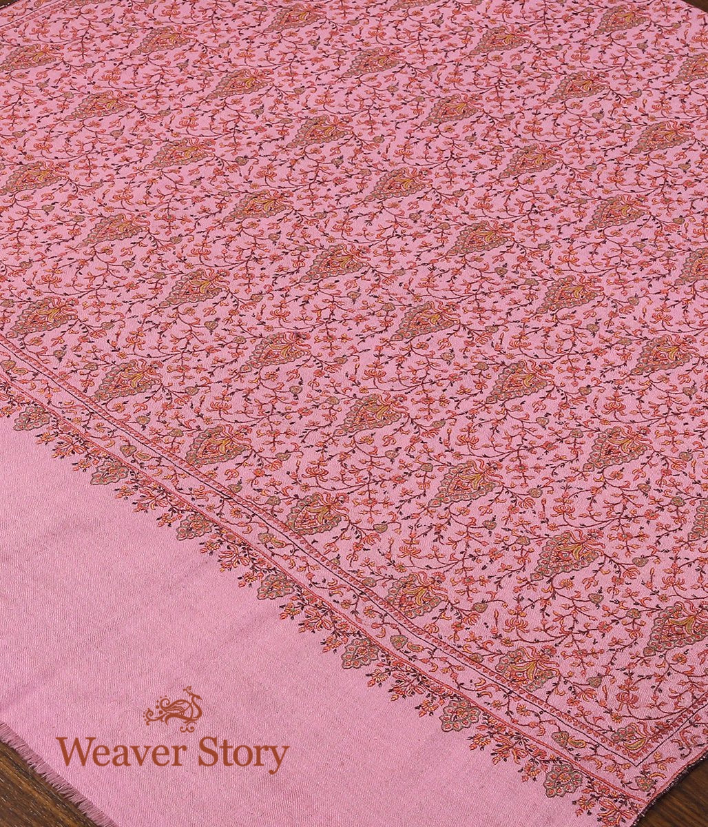 Pink Pure Pashmina Shawl with Sozni Intricate Work